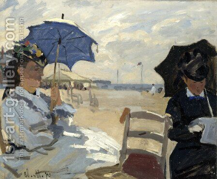 On the Beach, Trouville (La plague de Trouville) by Claude Oscar Monet - Reproduction Oil Painting