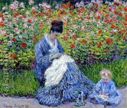 Madame Monet and Child (Camille Monet and a Child in a Garden) by Claude Oscar Monet - Reproduction Oil Painting