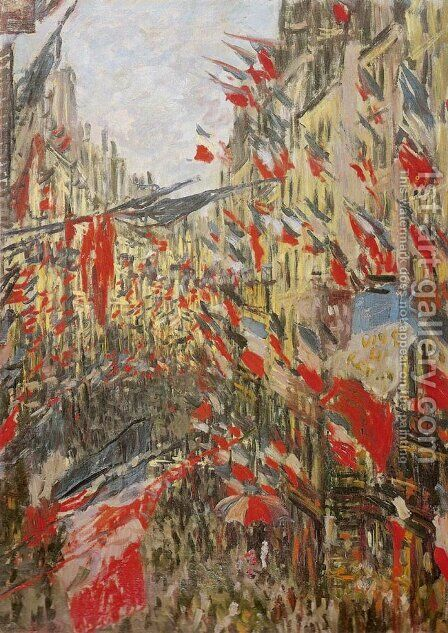 Rue Montorgueil Decked Out with Flags by Claude Oscar Monet - Reproduction Oil Painting