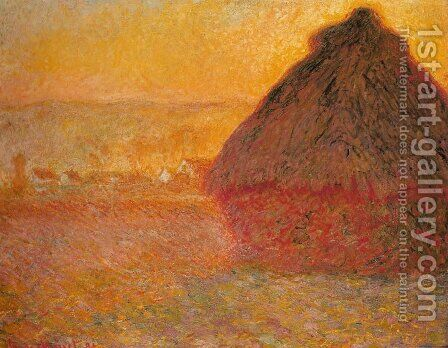 Haystack at Sunset near Giverny by Claude Oscar Monet - Reproduction Oil Painting