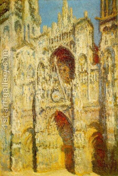 Rouen Cathedral: The Portal and the Saint-Romain Tower in Full Sun, Harmony in Blue and Gold by Claude Oscar Monet - Reproduction Oil Painting