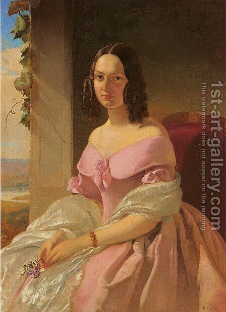 Portrait of Helena Matzel nee Wroczyner by Alojzy Reichan - Reproduction Oil Painting