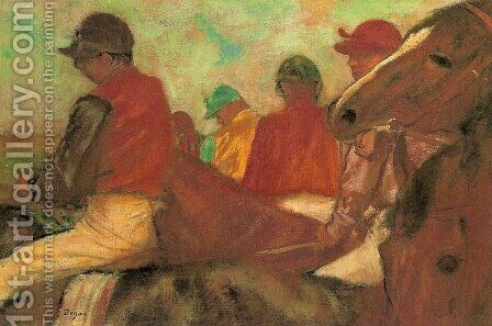 Horses with Jockeys by Edgar Degas - Reproduction Oil Painting