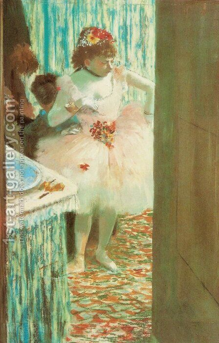 Ballet Dancer in Her Dressing Room by Edgar Degas - Reproduction Oil Painting