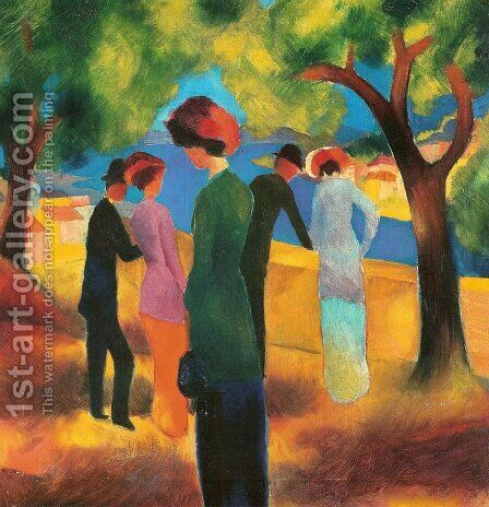 Lady in a Green Jacket by August Macke - Reproduction Oil Painting