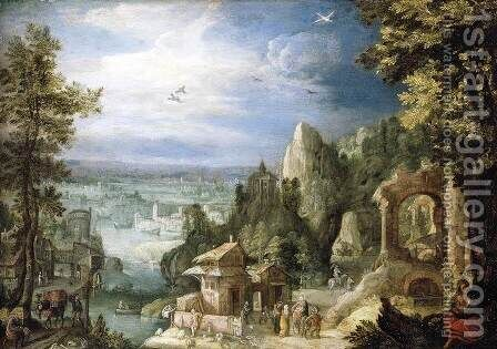 Extensive Landscape with the Rest on the Flight into Egypt by Anthonie Mirou - Reproduction Oil Painting
