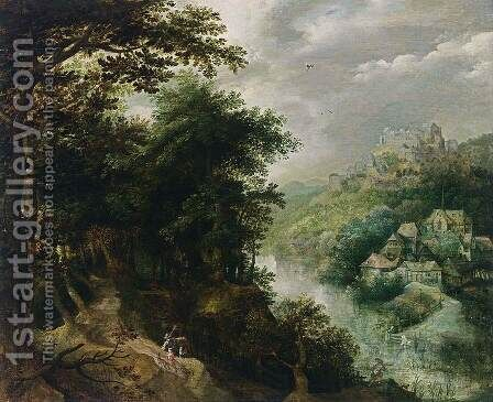 Wooded River Landscape with St John the Baptist  c. 1610 by Anthonie Mirou - Reproduction Oil Painting