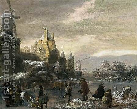 Winter Landscape with Skaters by Claes Molenaar (see Molenaer) - Reproduction Oil Painting