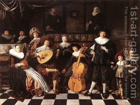 Family Making Music 1630s by Jan Miense Molenaer - Reproduction Oil Painting