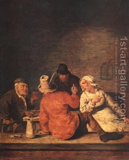 Peasants in the Tavern by Jan Miense Molenaer - Reproduction Oil Painting