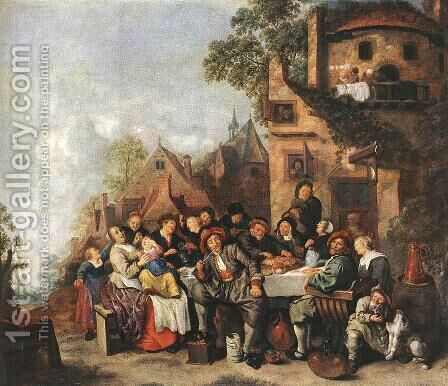 Tavern of the Crescent Moon by Jan Miense Molenaer - Reproduction Oil Painting