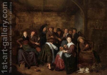 Peasants in an Inn Playing 'La Main Chaude (1) by Jan Miense Molenaer - Reproduction Oil Painting