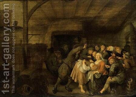 Peasants in an Inn Playing 'La Main Chaude (2) by Jan Miense Molenaer - Reproduction Oil Painting