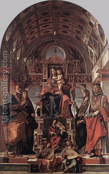 Madonna and Child Enthroned with Saints 1498 by Bartolomeo Montagna - Reproduction Oil Painting