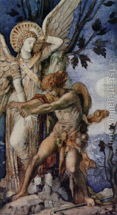 Jacob and the Angel 1878 by Gustave Moreau - Reproduction Oil Painting