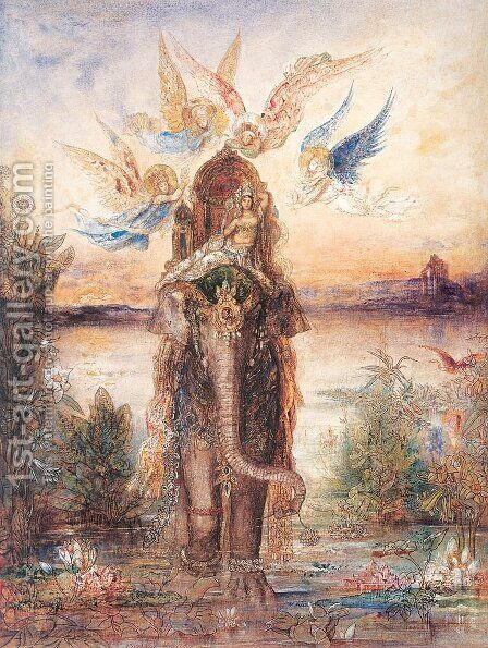 The Peri (The Sacred Elephant; The Sacred Lake) 1881-82 by Gustave Moreau - Reproduction Oil Painting