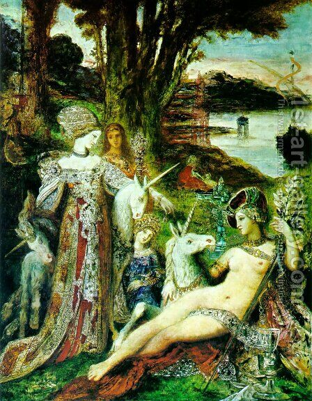 The Unicorns 1887-88 by Gustave Moreau - Reproduction Oil Painting