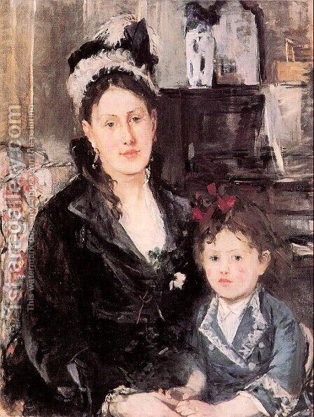 Portrait of Mme. Boursier and her Daughter 1874 by Berthe Morisot - Reproduction Oil Painting