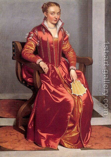 Portrait of a Lady (Possibly Countessa Lucia Albani Avogadro) 1557-60 by Giovanni Battista Moroni - Reproduction Oil Painting