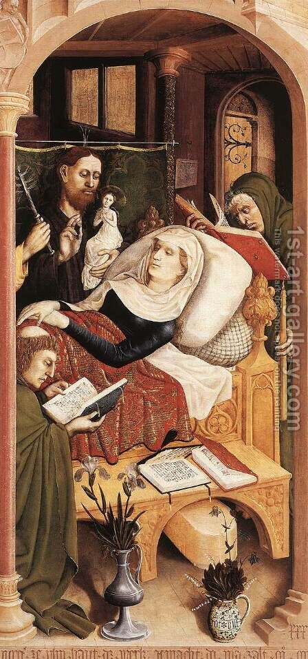The Death of the Virgin (detail) 1437 by Hans Multscher - Reproduction Oil Painting