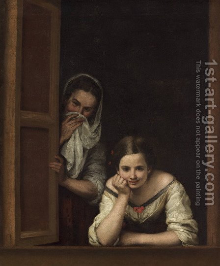 A Girl and her Duenna 1670 by Bartolome Esteban Murillo - Reproduction Oil Painting