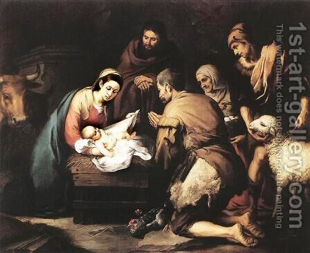 Adoration of the Shepherds 1650-55 by Bartolome Esteban Murillo - Reproduction Oil Painting