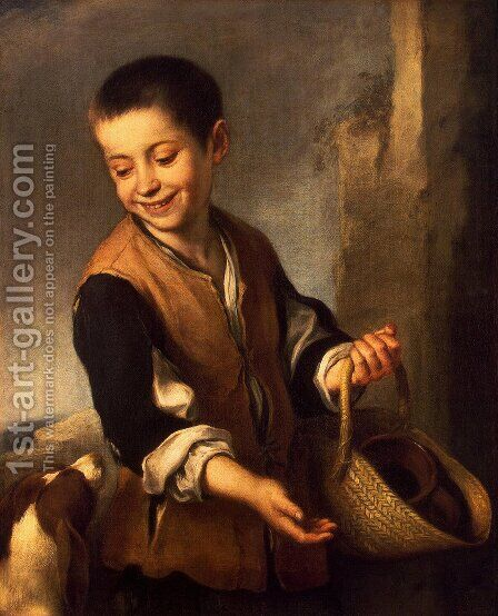 Boy with a Dog 1650s by Bartolome Esteban Murillo - Reproduction Oil Painting