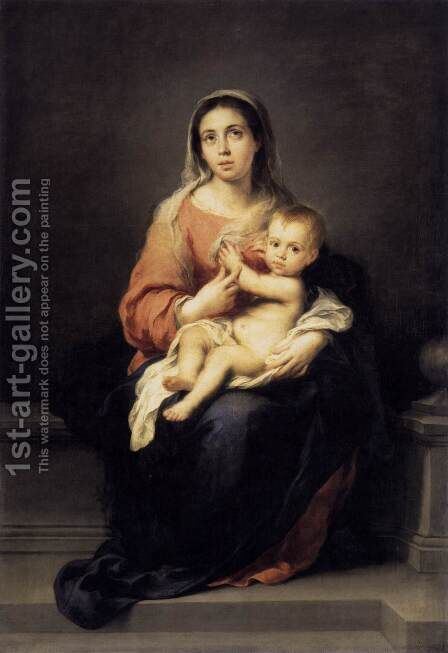 Madonna and Child c. 1670 by Bartolome Esteban Murillo - Reproduction Oil Painting