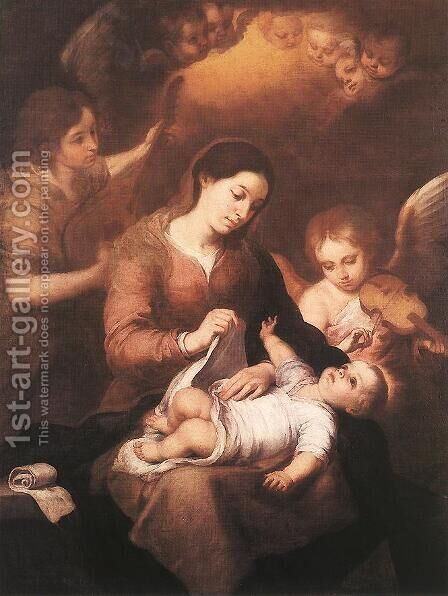 Mary and Child with Angels Playing Music 1675 by Bartolome Esteban Murillo - Reproduction Oil Painting