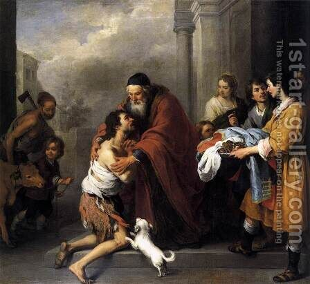 Return of the Prodigal Son 1667-70 by Bartolome Esteban Murillo - Reproduction Oil Painting