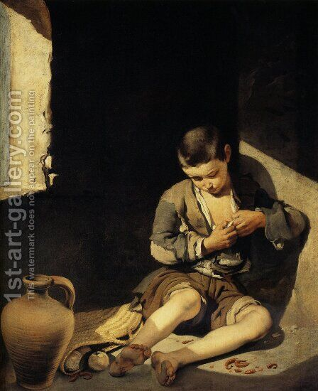 The Young Beggar c. 1645 by Bartolome Esteban Murillo - Reproduction Oil Painting