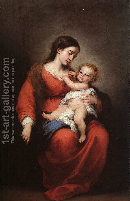 Virgin and Child  1672 by Bartolome Esteban Murillo - Reproduction Oil Painting