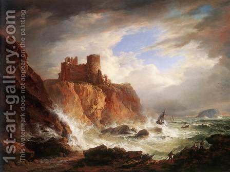 A View of Tantallon Castle c. 1816 by Alexander Nasmyth - Reproduction Oil Painting