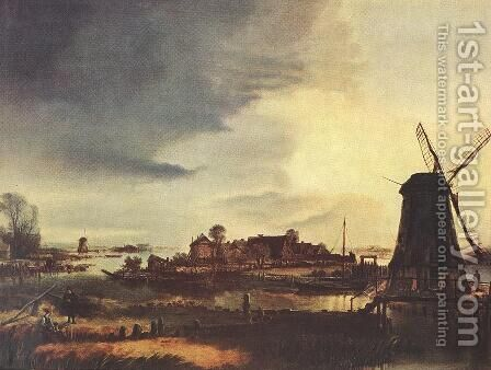 Landscape with Windmill 1647-49 by Aert van der Neer - Reproduction Oil Painting