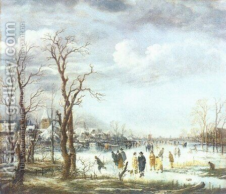 The River in Winter by Aert van der Neer - Reproduction Oil Painting