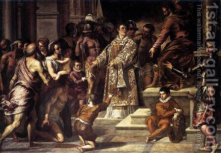 St Lawrence Giving the Wealth to the Poor 1575 by Jacopo d'Antonio Negretti (see Palma Giovane) - Reproduction Oil Painting
