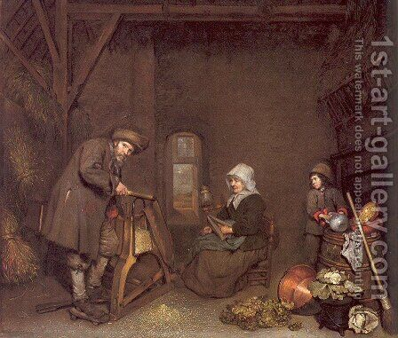 Chaff Cutter with a Woman Spinning and a Young Boy 1662-64 by Caspar Netscher - Reproduction Oil Painting