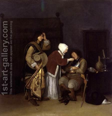 Interior with a Sleeping Soldier c. 1660 by Caspar Netscher - Reproduction Oil Painting