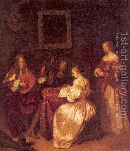 Musical Company 1665 by Caspar Netscher - Reproduction Oil Painting