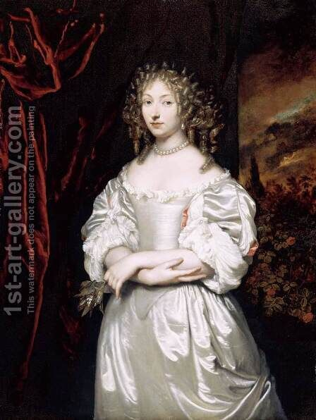 Portrait of Suzanna Huygens 1667-69 by Caspar Netscher - Reproduction Oil Painting