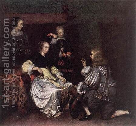 Presentation of the Medallion 1650s by Caspar Netscher - Reproduction Oil Painting