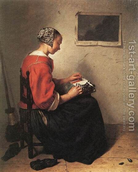 The Lace-Maker 1662 by Caspar Netscher - Reproduction Oil Painting