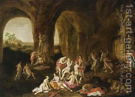 Diana and Her Nymphs 1651 by Adriaen van Nieulandt - Reproduction Oil Painting