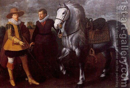 Gentleman with Groom and Horse by Adriaen van Nieulandt - Reproduction Oil Painting