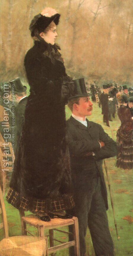 Horse Races in the Bois de Boulogne 1881 by Giuseppe de Nittis - Reproduction Oil Painting