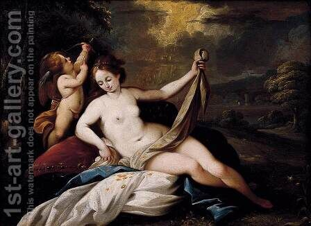 Venus and Cupid in a Landscape by Giuseppe Nuvolone - Reproduction Oil Painting