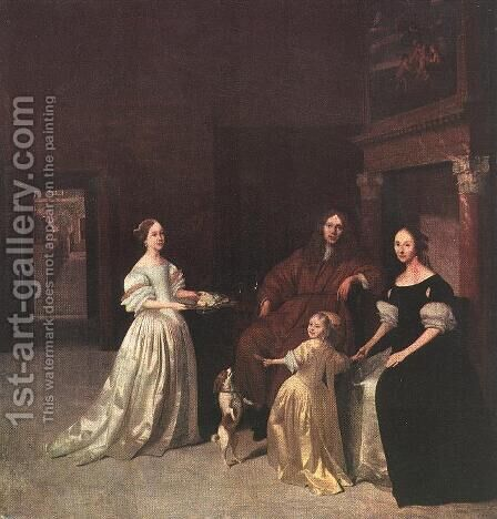 A Family Group 1670 by Jacob Ochtervelt - Reproduction Oil Painting