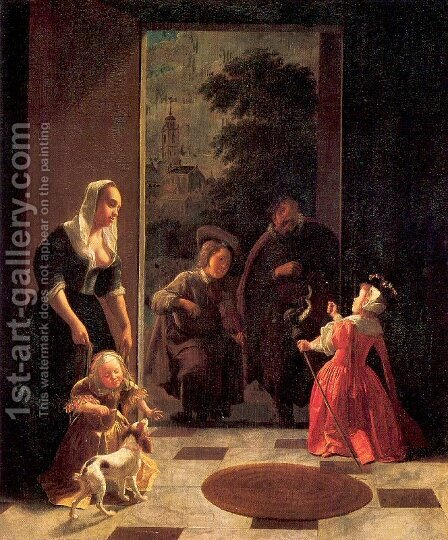Itinerant Musicians 1660-65 by Jacob Ochtervelt - Reproduction Oil Painting