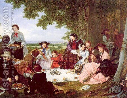 A Picnic 1857 by Henry Nelson O'Neil - Reproduction Oil Painting