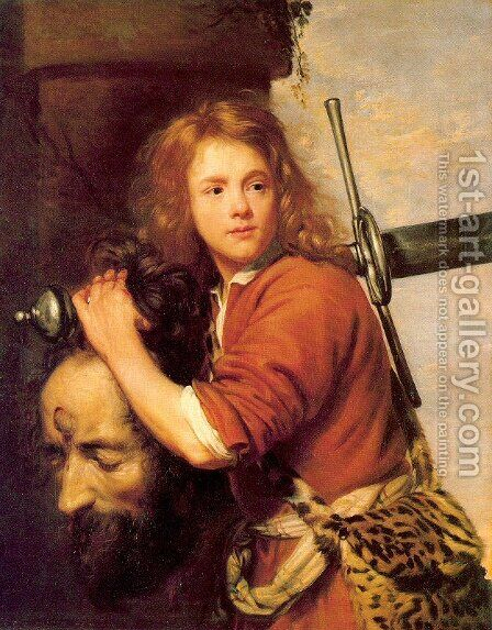 David with the Head of Goliath 1648 by Jacob van, the Elder Oost - Reproduction Oil Painting